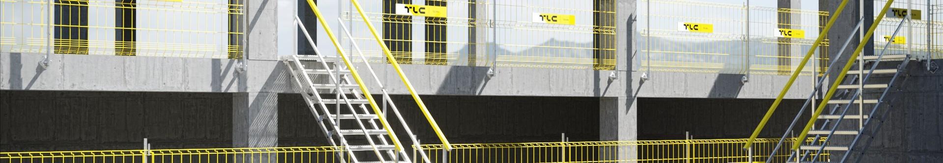 Schody kontenerowe, stalowe z podestem - zewnętrzna klatka schodowa | Sklep internetowy TLC Rental